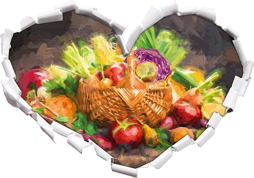KAIASH 3D Pegatinas de Pared Frutas y Verduras Frescas en la Cesta Efecto de Pincel artístico en Forma de corazón con Aspecto 3D Adhesivo de Pared o Puerta Adhesivo de Pared Decoración de Pared