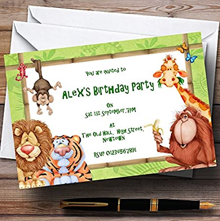 Animal Tiger Print Personalised Party Invitations