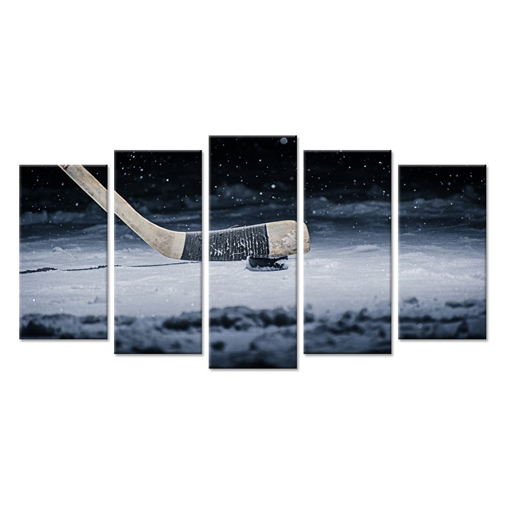 Hello Artwork Canvas Wall Art Large 5 Panel Hockey Stick and Puck Sliding Across The Ice Close Up Slapshot Player Love Picture Print On Canvas Contemporary Art Stretched And Framed For Home Decor