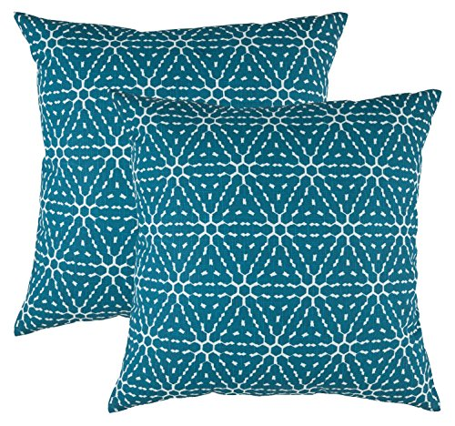 TreeWool, (2 Pack) Throw Pillow Covers Hexagonal Honeycomb Accent Decorative Pillowcases Toss Pillow Cushion Shams Slips Covers for Sofa Couch in Cotton Linen (18 x 18 Inches / 45 x 45 cm; (Geometric Toss Pillow)