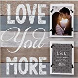 Gallery Solutions 2 Opening Love You More Plank Collage Wall Hanging Picture Frame, 4x6