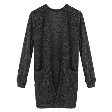 LHWY Las Mujeres Negro Largo Manga Punto Suelto Suéter Abrigos y Chaquetas Chaqueta Capa Suéter de