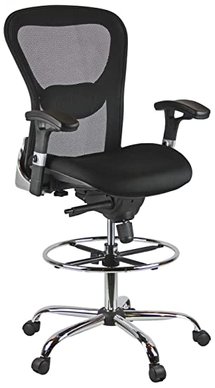 Stupendous Harwick Deluxe Mesh Drafting Stool With Arms Black Gmtry Best Dining Table And Chair Ideas Images Gmtryco