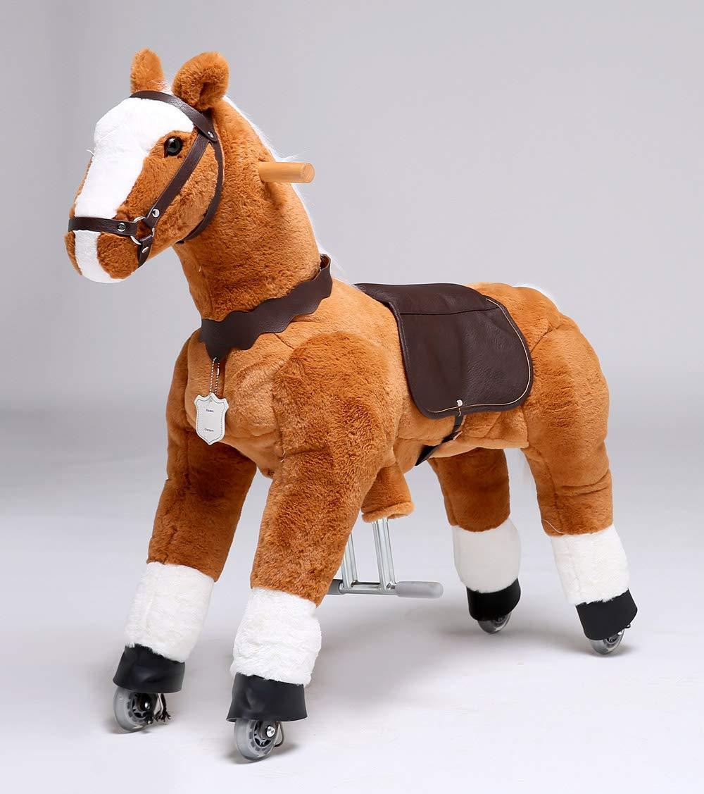 UFREE Moyen HORSE, mécanique jouet de cheval de taille Moyenne, blanc, advancer en rebondissant haut et bas, haut de 36'' pour enfants âgés de 4 à 9 ans.