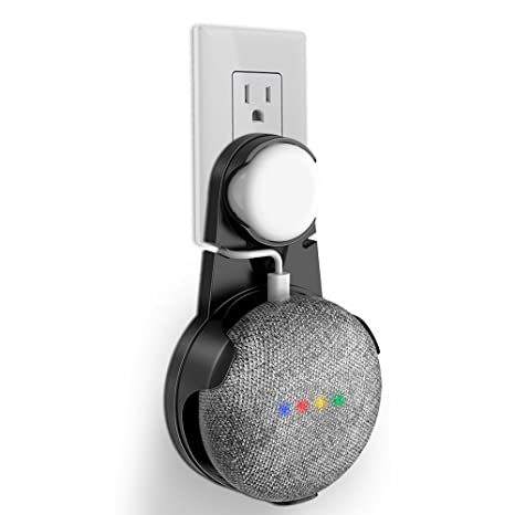 Outlet Wall Mount Stand Hanger for Google Home Mini Voice Assistants,  Compact Holder Case Plug in Kitchen Bathroom Bedroom, Hides the Google Home  Mini