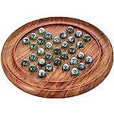 ShalinIndia solitaire en bois - Plateau de jeu en bois et billes en verre - Cadeau unique