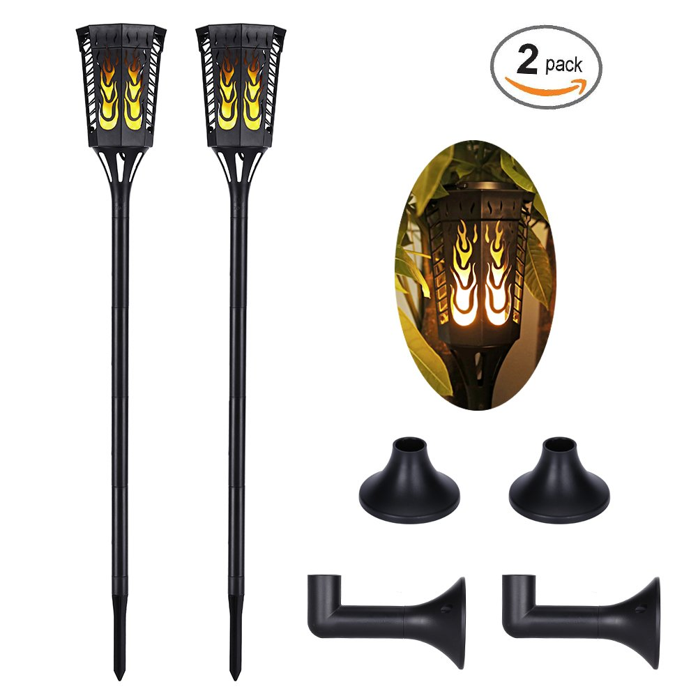 Slopehill Solar Lights Outdoor with 96 LED Solar Light, Outdoor Decor Waterproof Dancing Flame Torch Lights, Decoration Lighting For Garden, Patio, Deck, Yard, Path, Driveway, 2 Pack