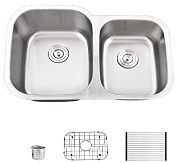 Heselian Premium Series 18 Gauge Modern Double Bowl 6040 Stainless Steel Undermount Kitchen Sinks Including Stainless Steel Dish Drying Rack Dish