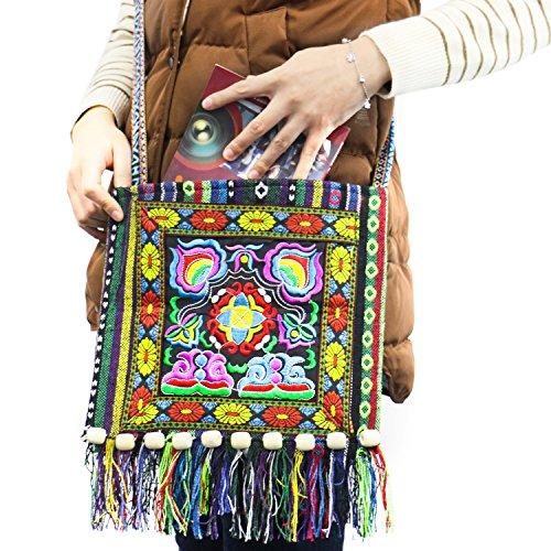 Rugjut Hippie Sling Handmade Crossbody Bag Boho Chic Patchwork Embroidered Shoulder (Handmade Hippie Patchwork)