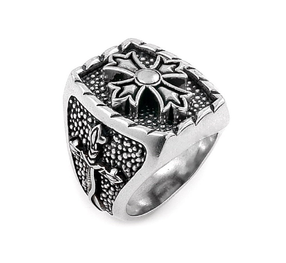 Twisted Blade 925 Sterling Silver Rectangle With Fleur De Lis Cross Center Ring Size 13