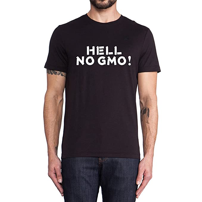 Loo Show Hell No GMO Sayings Slogans T Shirt Men Funny Casual Tee