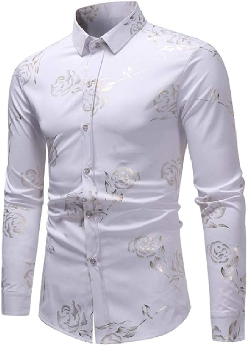 Abetteric Mens Long-Sleeve Print Lapel Skinny Fashionable Button Tees Top Shirts