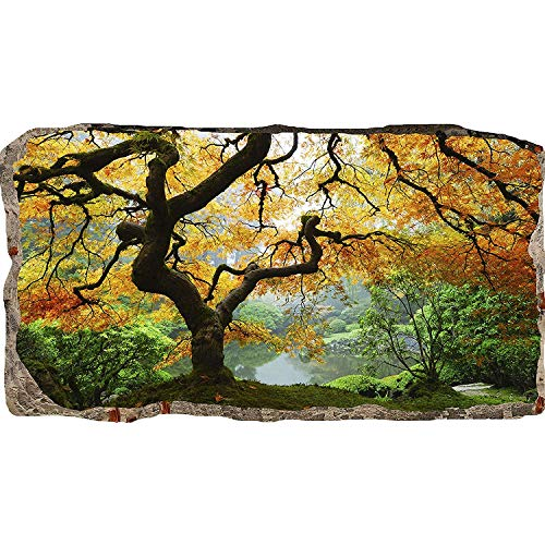 MOBEITI 3D Photo Decor Window Maple Tree Amazing Dual View Surprise Large Wall Mural Wallpaper for Living Room or Bedroom Nature Collection 120 x 220 ()