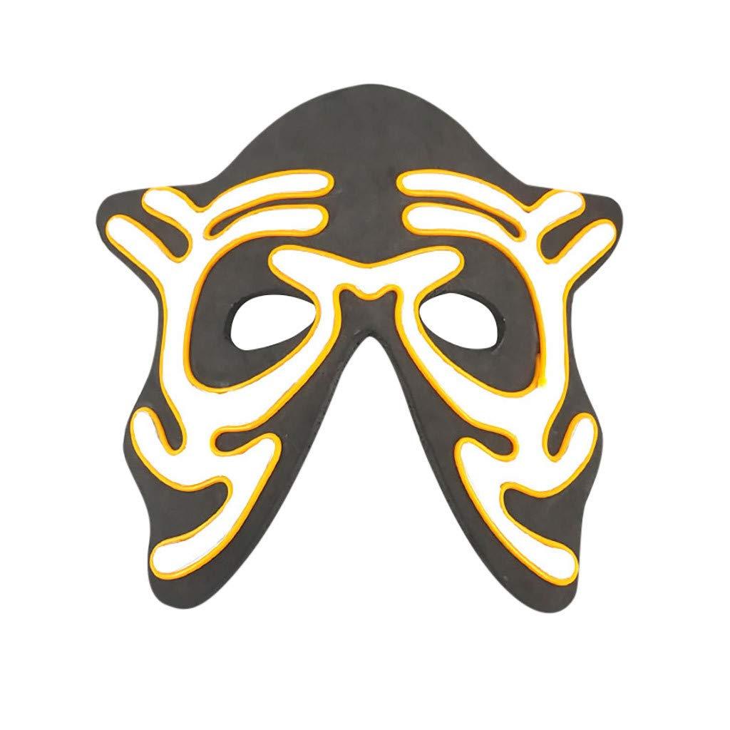 Beihxwe Skull Head LED Masks, Men's Light Up Clown Mask for Festival Cosplay Halloween Costume (A) by Beihxwe
