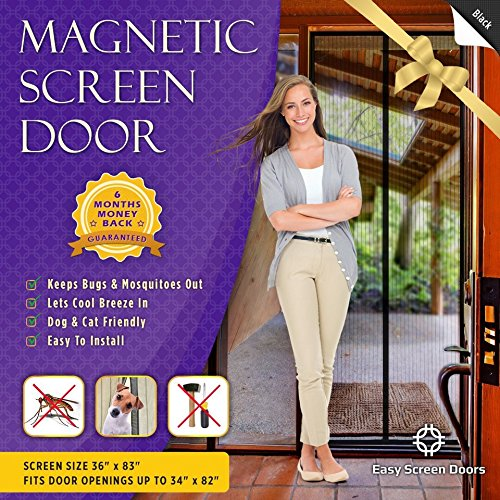 Magnetic Screen Door, Mesh Curtain - Mosquito Net Keeps Bugs Out, Lets Cool Breeze In - Premium Quality - Toddler And Pet Friendly - Fits Doors Up To 34-Inch-by-82-Inch MAX (Curtain Frame compare prices)