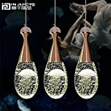 Injuicy Lighting Modern Luxury Crystal Bubble Perfume Bottle Pendant Lights Fixtures American Led Pendant Lamps for Cafe Bar Dining Rooms Restaurants Living Room Bedrooms Gift (3 Head Rectangle Plate)