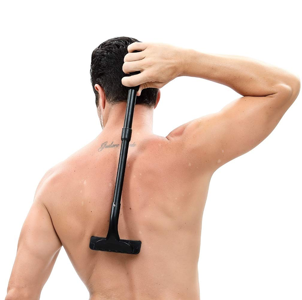 Back Shaver, DIY Back Hair Shaver & Body Shaver with 20 Inch Adjustable Handle - Safety & Pain-Free Back Razors, Back Hair Removal for Men, Perfect for Dry & Wet Use Man Life
