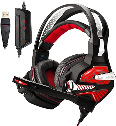 Beexcellent Gaming Headset for PS4 PC Xbox one, Stereo Sound Over Ear Headphones with Noise Reduction Microphone Volume Control and LED Light for