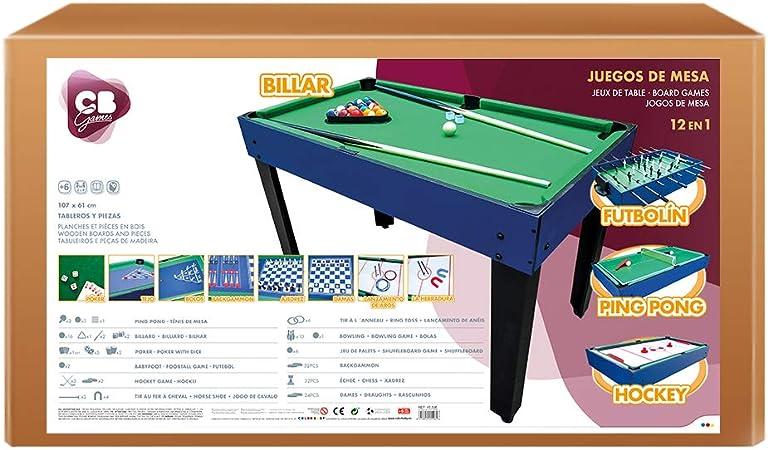 ColorBaby - Mesa de billar multijuegos 12 en 1 CB Games (45596): Amazon.es: Juguetes y juegos