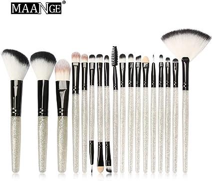 Juego de brochas de maquillaje brillante, herramientas de maquillaje Kit de artículos de tocador Brillos de brillo Conjunto 18 piezas: Amazon.es: Belleza