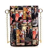 Glossy magazine cover collage crossbody bag purses cellphone carrying bag Michelle Obama bags (MULTI/BLACK)