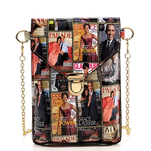 Glossy magazine cover collage crossbody bag purses cellphone carrying bag Michelle Obama bags (MULTI/BLACK) by Amy & Joey