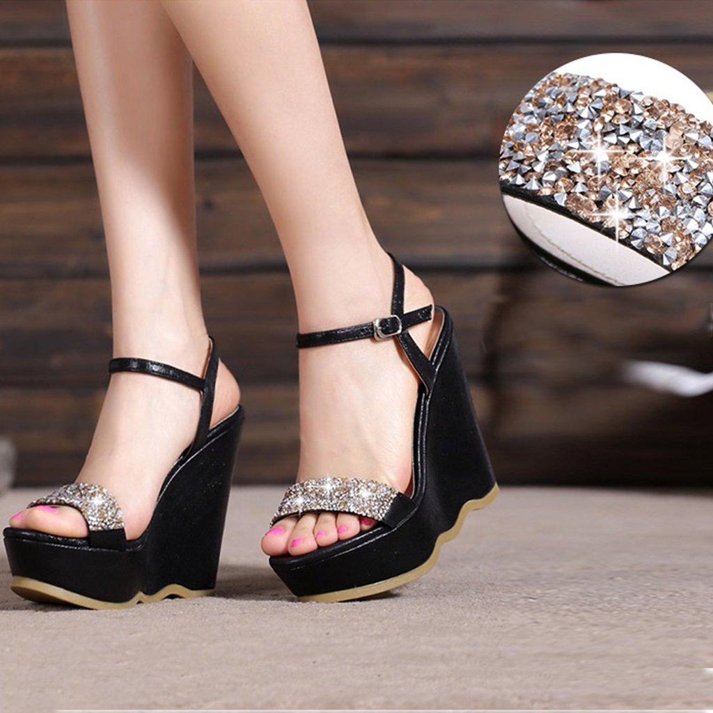 Chaussures de style talon nouveau été taille pente diamant de la mode avec des sandales à plateforme imperméables fond épais diamant haut talon chaussures de petite taille (haute 9.5cm) ( Color : Black , Size : 32 ) Black bbfad3d - latesttechnology.space