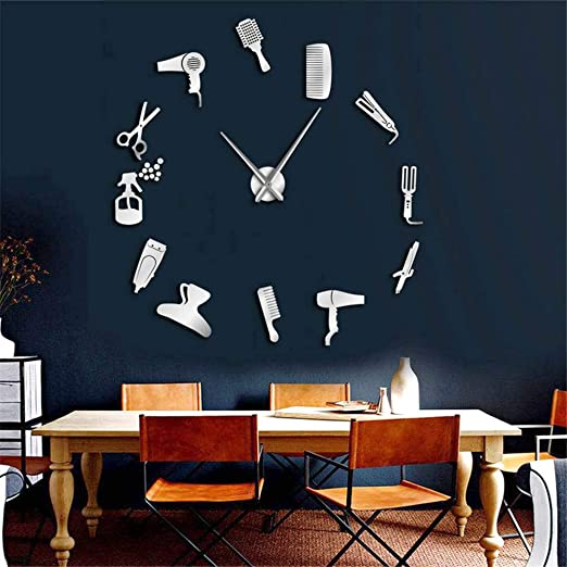 Amazon.com: Shuangklei 47Inch Barber Shop Hair Tools Oversized DIY Wall Clock Frameless Hair Salon Big Time Clock Fashion Hairdresser: Home & Kitchen