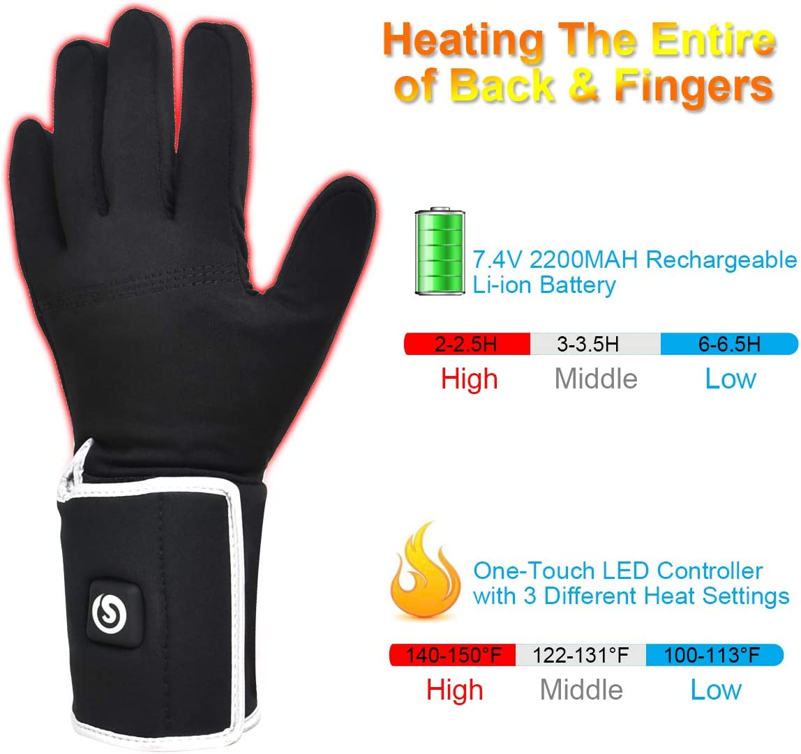 SNOW DEER Heated Glove Liner for Men and Women with Rechargable Battery for Outdoor Cycling Montorcycle Camping Hiking Skiing,Hand Warmer Heat Up to 2.5-6H