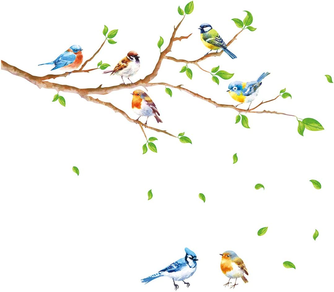 decalmile Birds on Tree Branch Wall Stickers Green Leaves Wall Decals Baby Nursery Kids Bedroom Living Room Wall Decor
