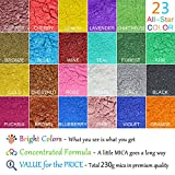 Mica Powder Pure 23 Color(Total 230g) - Epoxy Resin Color Pigment with Spoon - Cosmetic Grade Slime Pigment for Resin Coloring Soap Making, Natural Epoxy Colorant for Paint,Art,Bath Bomb - 0.36oz Each