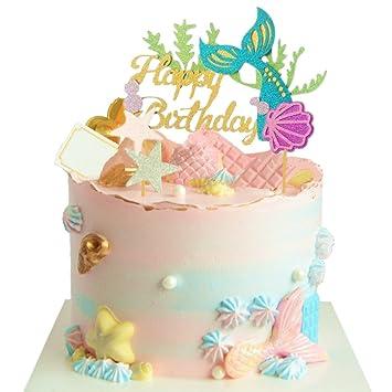 Amazon.com: JeVenis Glitter Mermaid Cake Topper Mermai Happy ...