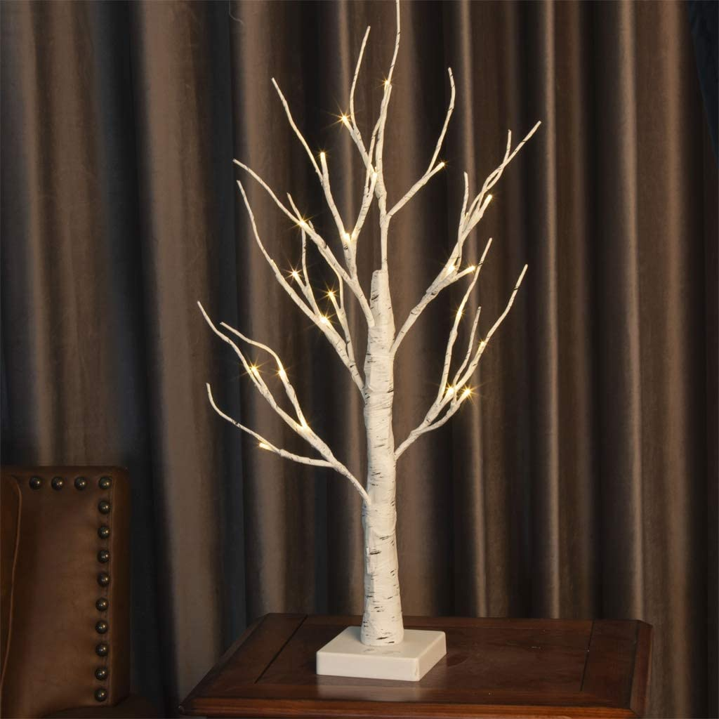 Vanthylit LED Birch Tree Light Tabletop Bonsai Tree Light Battery Powered with 24 Led Warm White for Indoor Decoration