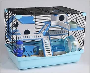 PETAMANIM Jaula Hámster Chalé para Hámster con Escalera Túnel y Casa Especial Color,Azul: Amazon.es: Deportes y aire libre