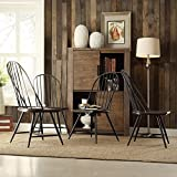TRIBECCA HOME Belita Mid-century Two-tone Modern Spindle Wood Dining Chairs (Set of 4), Black/Brown