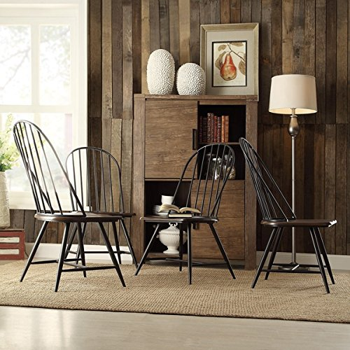 TRIBECCA HOME Belita Mid-century Two-tone Modern Spindle Wood Dining Chairs (Set of 4), - Chairs 4 Back Spindle