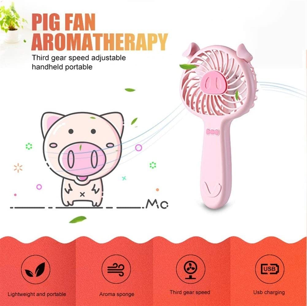 Color : Pink Air Cooler Portable Mini Hand Fan Rechargeable Battery Operated USB Power Electric Fan Pig Shape Table Air Cooler