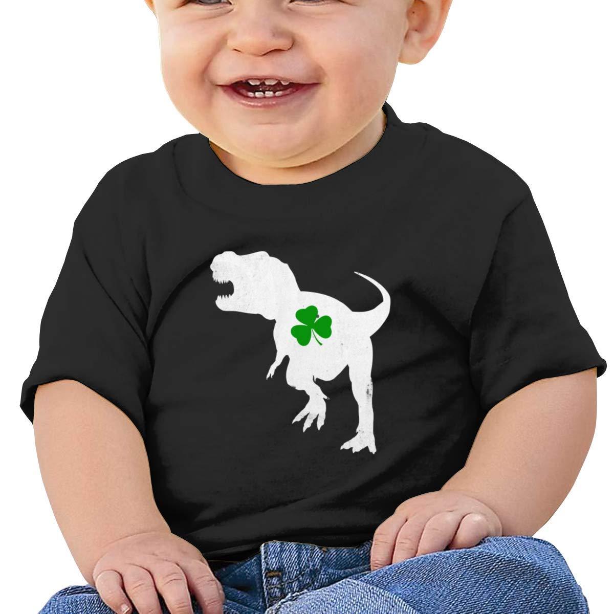 Irish T-Rex Dinosaur Clover St Patricks Day Short Sleeve Tshirt Baby Girl