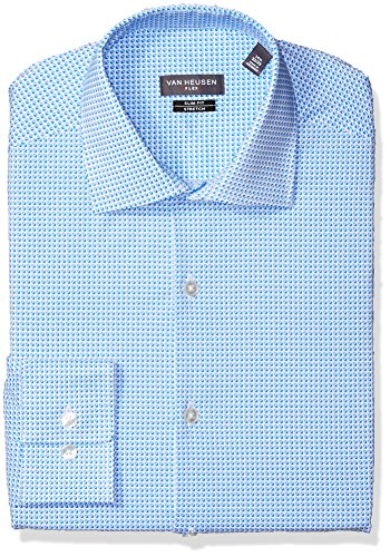 Van Heusen Men's Dress Shirt Flex Collar Slim Fit Print, Stream, 17