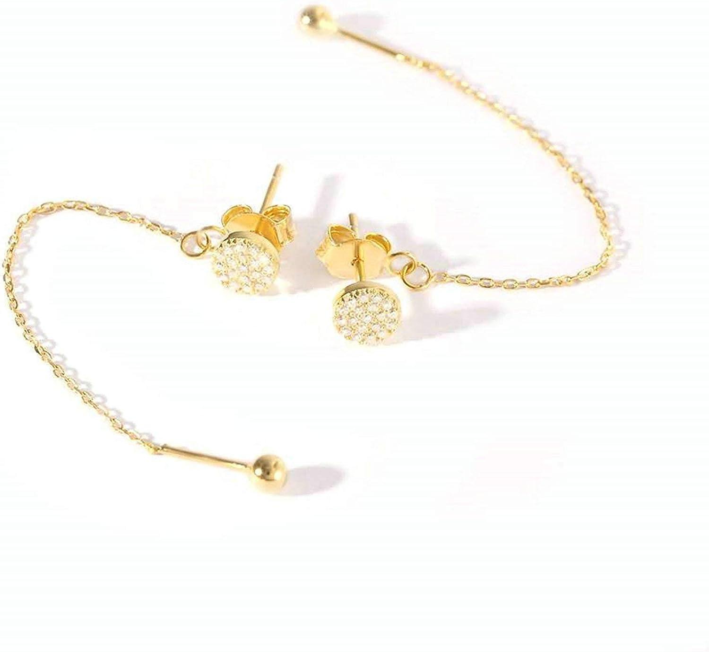 Bishilin Pendientes de Niña Plata de Ley 925 Pendientes Colgantes Oro Borla Larga Zirconia Cúbica Pendientes