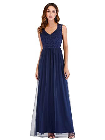 Ever Pretty Womens Elegant Sleeveless V Neck Floor Length Lace Tulle Long Bridesmaid Dresses Navy Blue