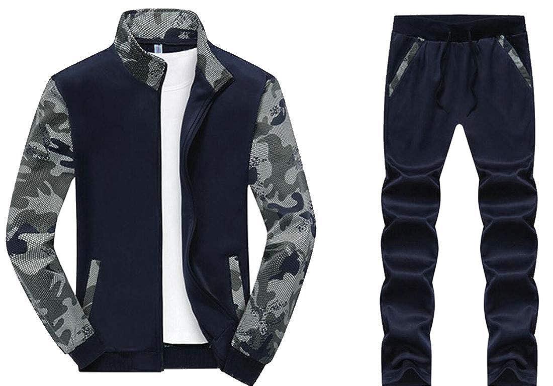 YONGM Men Sport Suit Jogging Full Sweatsuit Zipper Tracksuit Outfit