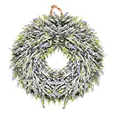 Lingstar Lavender Flower Floral Wreath Hanging Wall Window Decoration Home Office Easter Holiday Festive Decor,14 - Inch Diameter