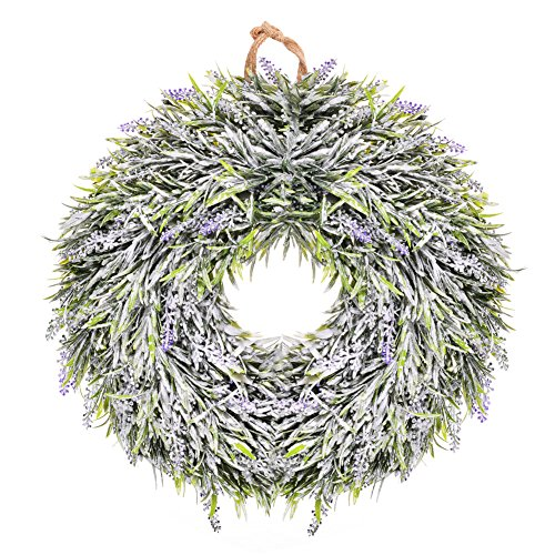 Ornament Wreath Wall Hanging (Lavender Wreath with Bow Door Hanging Wall Window Decoration Wreath Easter Holiday Festive Decor Wedding Decor)