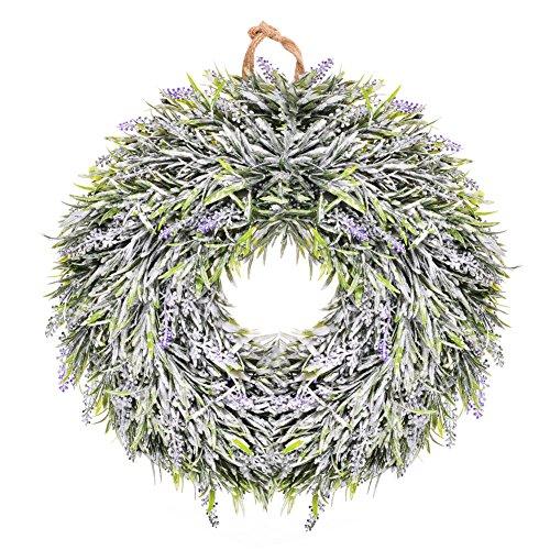 CAROMIO Lavender Floral Twig Wreath Flower Wreath Wall Hanging Decorations Wedding Holiday Festive Decor,14 - Inch Diameter