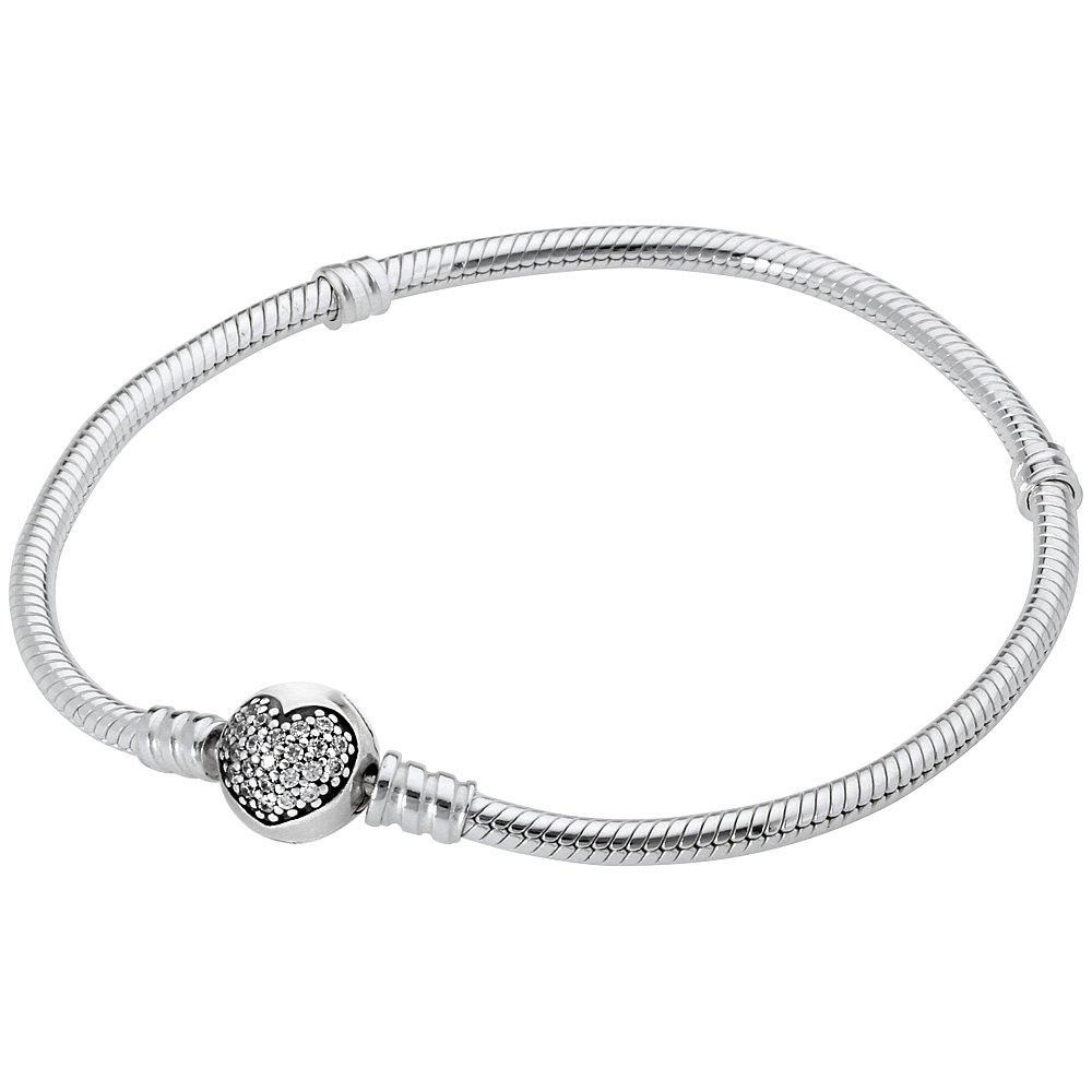 Pandora Moments Silver Bracelet with Sparkling Heart Clasp 590743CZ21