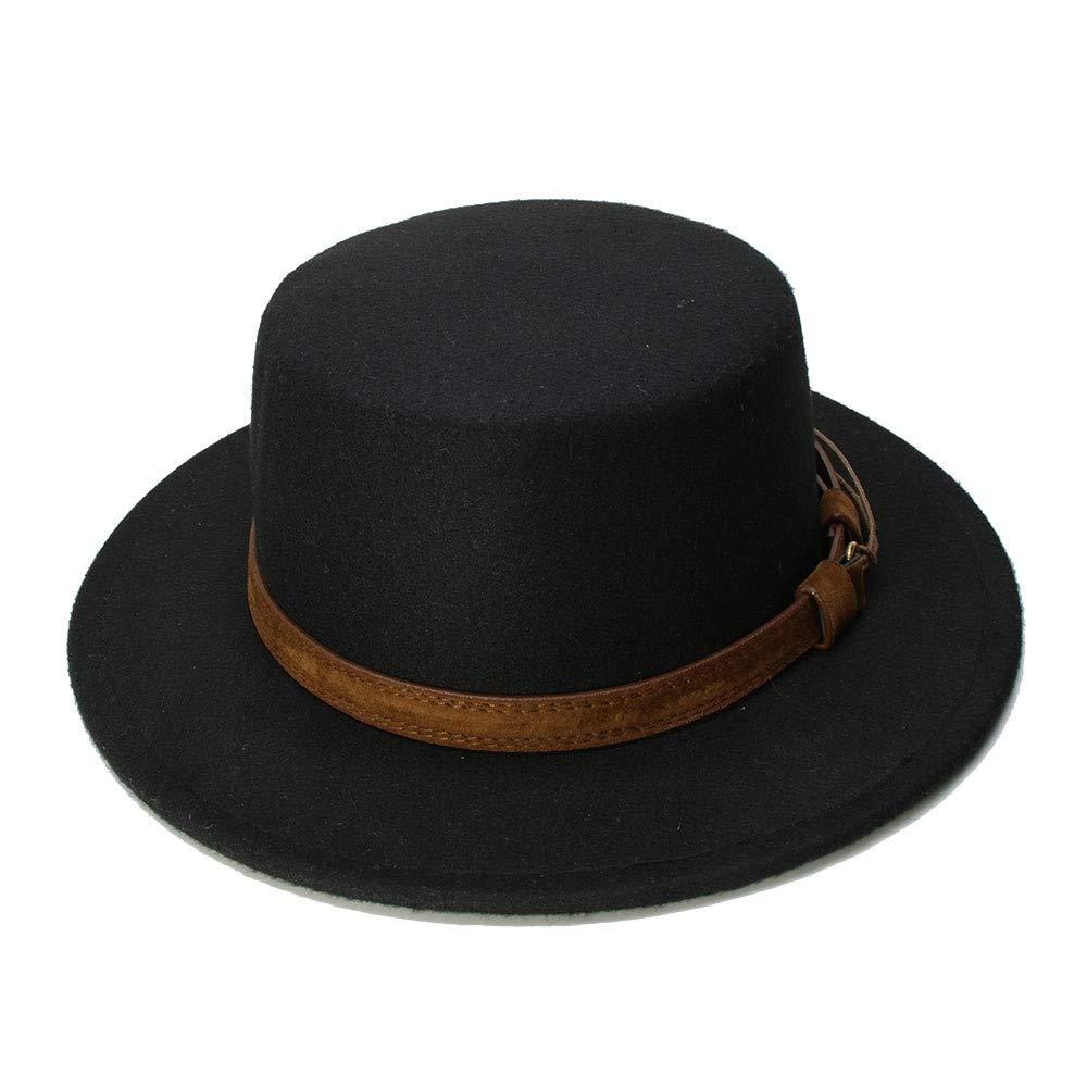 MUMUWU Vintage Wool Wide Brim Cap Pork Pie Porkpie Bowler Hat Solid Coffee Leather Band(54cm/Adjusted) (Color : Black, Size : 54cm)