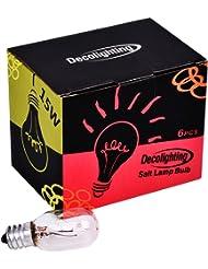 COOWOO Light Bulbs 15 Watts 6 Light Bulb Short Tubular for Himalayan Salt Lamps Pack of 6 Bulbs Fits T20 2048,Aluminum Round (15W)