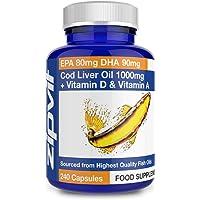 Cod Liver Oil 1000mg, 240 Softgels. EPA 80mg DHA 90mg. 8 Months Supply. Supports Heart, Brain and Eye Health.