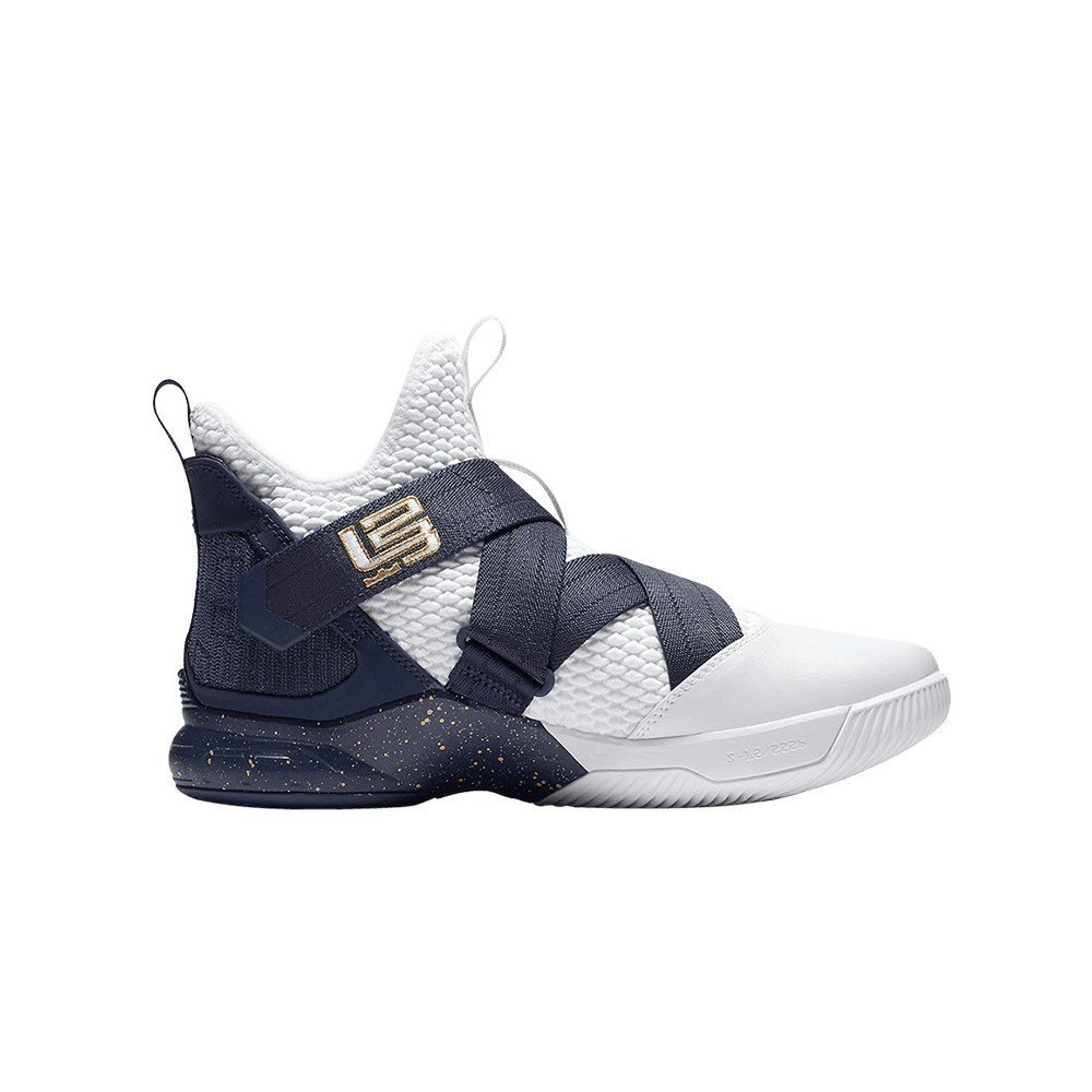 the best attitude 4beee c1725 NIKE Men's Zoom Lebron Soldier XII Basketball Shoes (9, White/Navy)